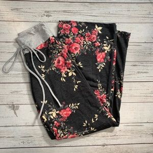 Floral wide leg lounge pants S NWT
